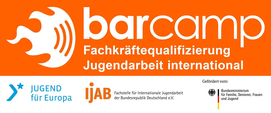 Logo Online-BarCamp: Fachkräftequalifizierung Jugendarbeit international