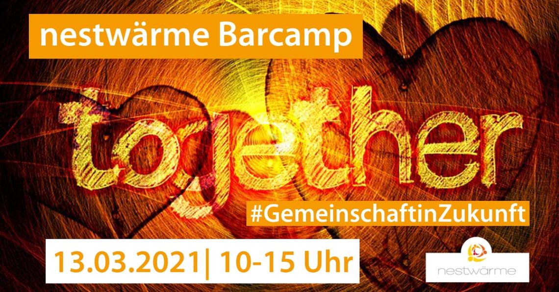 Logo 2. nestwärme Online-Barcamp #GemeinschaftinZukunft