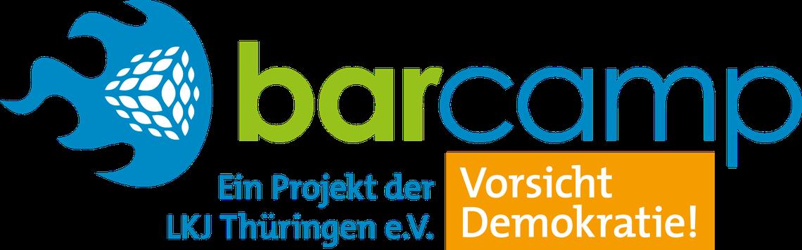 """Logo """"Vorsicht, Demokratie!"""""""