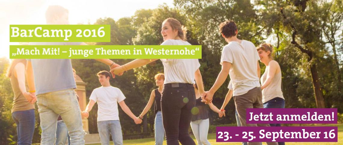 """Logo BarCamp 2016 """"Mach Mit! – junge Themen in Westernohe"""""""