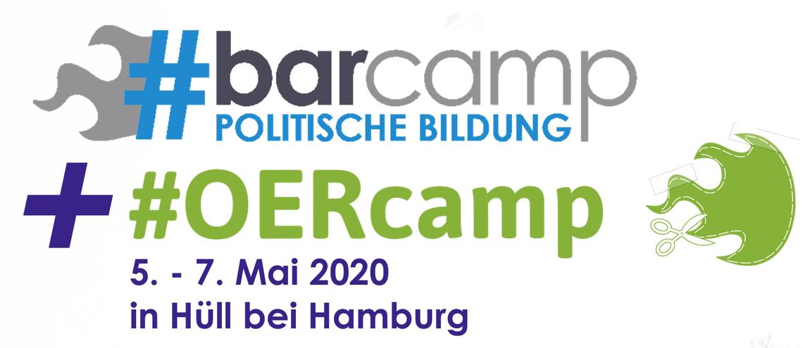 Logo BarCamp politische Bildung und #OERcamp Online
