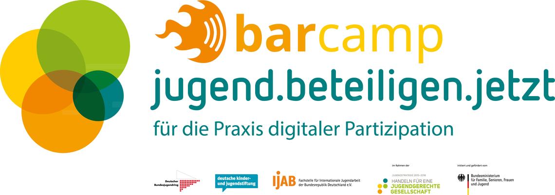 Logo Barcamp - jugend.beteiligen.jetzt - für die Praxis digitaler Partizipation